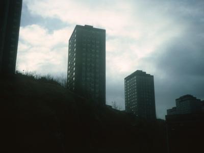 View of multistorey blocks on Belville Street