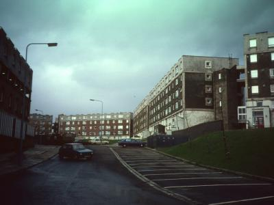 View of multi-storey blocks on Darnley Estate