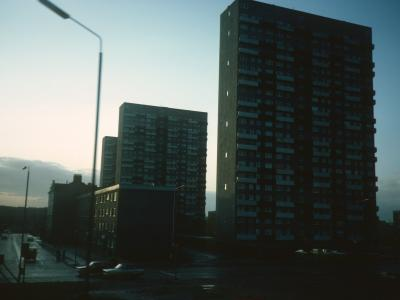 View of Torridon Court, Katrine Court, and Lorne Court from Cedar Street