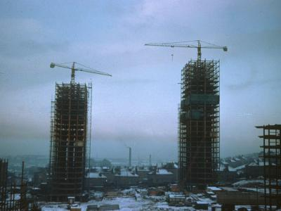 View of first two blocks on Red Road development under construction