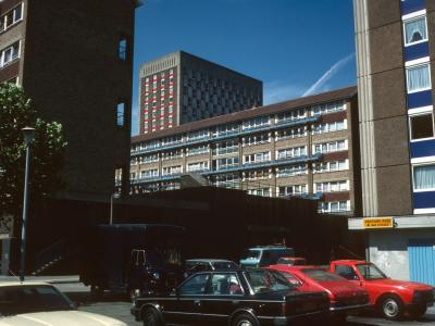 View of all four blocks taken from corner of Leicester House with Hereford House in centre