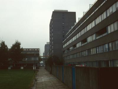 Typical square of development with 12-storey block in background