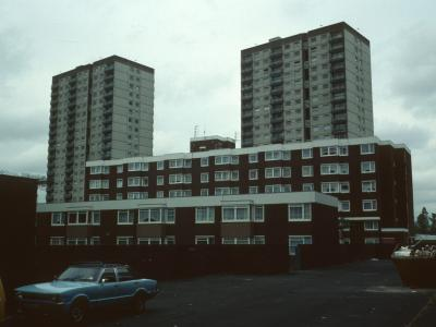 View of two 20-storey blocks in background with Kirkstead Court in foreground
