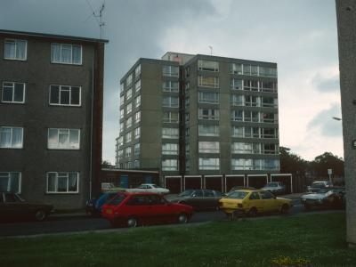 View of 10-storey block on Bemerton Estate