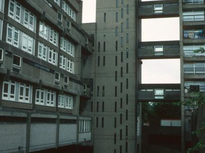 View of 19 Golborne Road (on left) and access tower of Trellick Tower