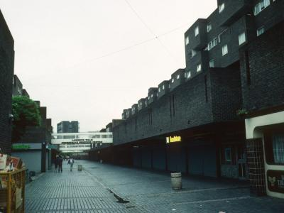View of 7-storey block on right, looking South down Lambeth Walk with Coverley Point in distance