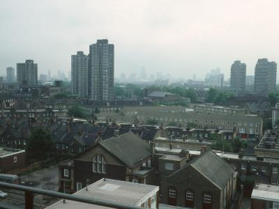 View of Ethelred Estate on left and Hurley Road blocks on right