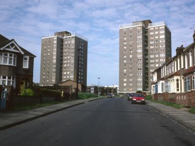 View of Sara House (on right of photo) and Cambria House (on left of photo) from Larner Road