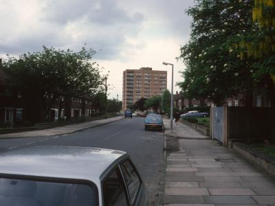 View of one 14-storey block on Vicarage Estate