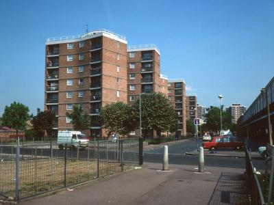 View of three 8-storey blocks on Walton Road with Stuart Rainbird House in background