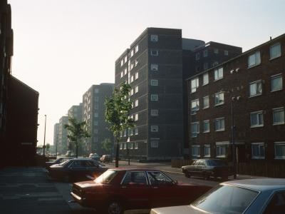 View of 8-storey blocks on Woodman Street with Shaw House in foreground