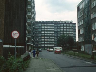 View of 11-storey and 6-storey blocks in Southampton Way Estate