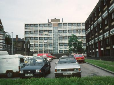 View of 6-storey block with Kinsham House in background