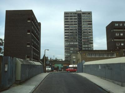 View of Fitzgerald House from Chrisp Street with Ennis House and Kilmore House in foreground