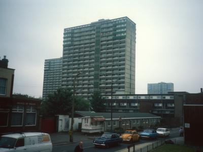View of 21-storey blocks on Beaumont Road Estate