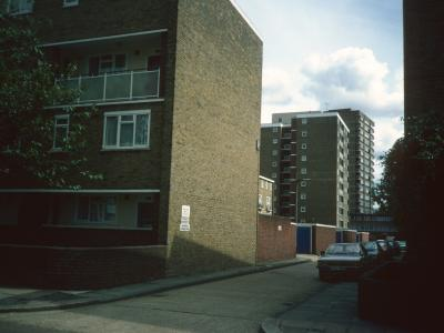 View looking South from Trott Street of Meecham Court and Gaitskell Court in background