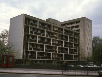 View of 6-storey and 10-storey blocsk on Hallfield Estate