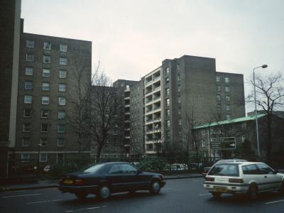 View of both 9-storey Boydell Court blocks from Adelaide Road