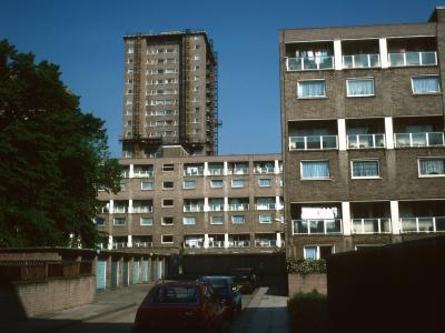 View of 6-storey blocks on Ampthill Square Estate with 21-storey block in background