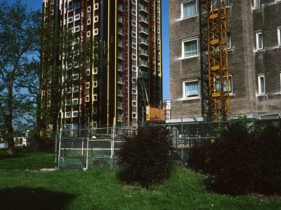 View of 6-storey block and 21-storey block on Ampthill Square Estate