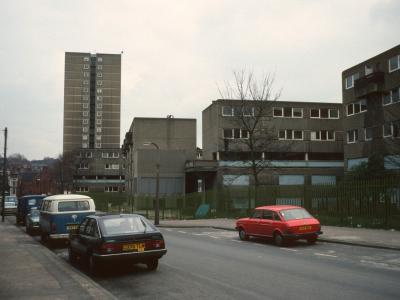 View down Noel Street with High Point in background and 6-storey blocks in foreground