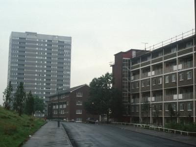 View of 6-storey block with Haddon Tower