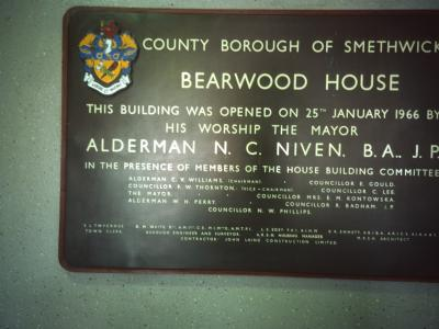Dedicational plaque in Bearwood House