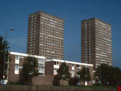 View of 24-storey blocks on Grove Lane
