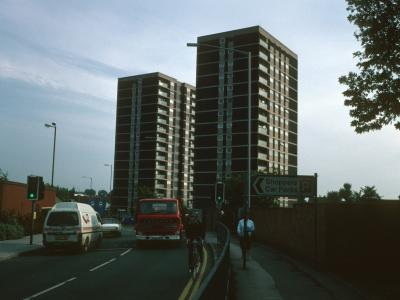View of 15-storey blocks looking South down St Lawrence Way
