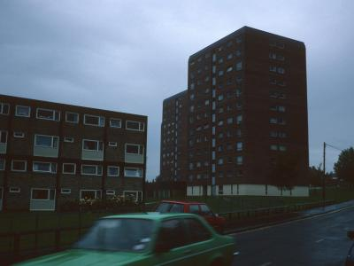 View of all three blocks from Hurcott Road with Coniston House in foreground