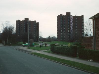 View of Pedley Court (right) and Robinson Court (left) from Ripon Road
