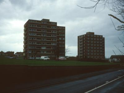 View of Apley Court (left) and Haughmond Court (right) from Severn Drive