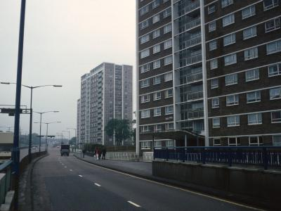 View of all three blocks looking South from Birchfield Road with Tweed Tower in foreground