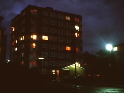 View of Perry Green House at night