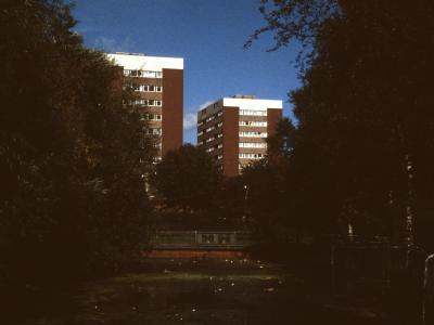 View of 11-storey blocks on  Hwkesley Farm Moat Estate