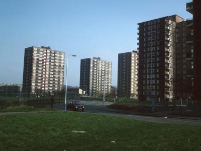 View of 15-storey blocks in Clifford Ward redevelopment