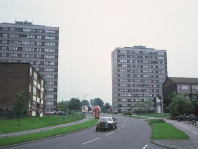 View of Southey Court and Castleton Court from Mancunian Road