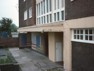 Detail view of 13-storey block in Hattersley