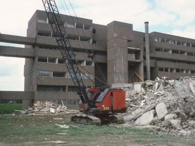 View of 6-storey blocks in Bransholme undergoing demolition
