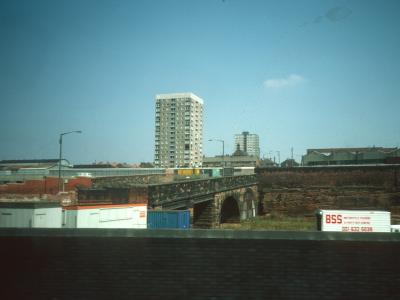 View of 15-storey block on Park Street with Mill View in background
