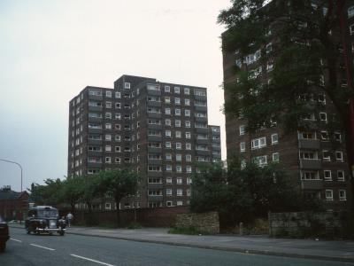 View of Ryecroft House and Grosvenor House from Stockport Road