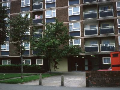 Entrance to 12-storey block in Binnington
