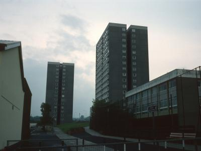 View of 16-storey blocks in Larne