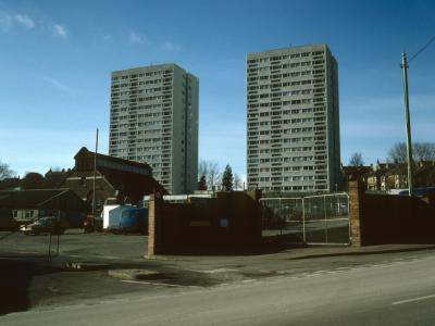 View of Dudeney Lodge and Nettleton Court from Upper Hollingdean Road