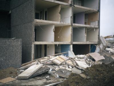 View of block in Leek Street development during demolition