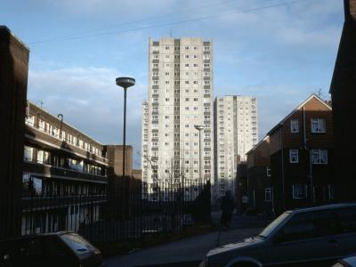 View of the Walton Lane Development from the west, with Lambton Tower in the foreground