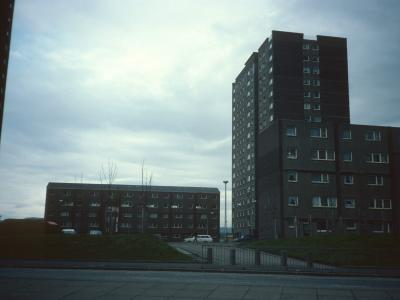 View of Newshot Court and Howcraigs Court from Glasgow Road