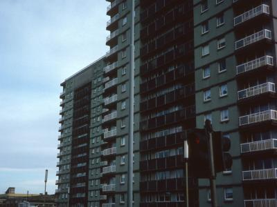 View of Calder Court and Whifflet Court from Whifflet Street