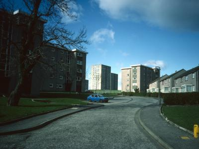 View of West Bridgend blocks in background