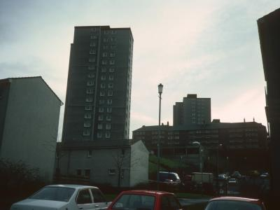 View of Whinhill Court in foreground and Prospecthill Court in background